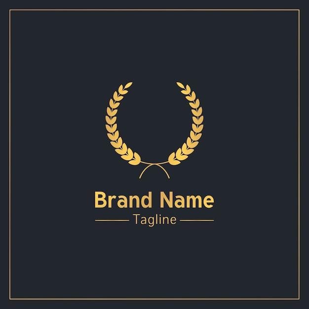 Лавровый венок золотой элитный шаблон логотипа Premium векторы