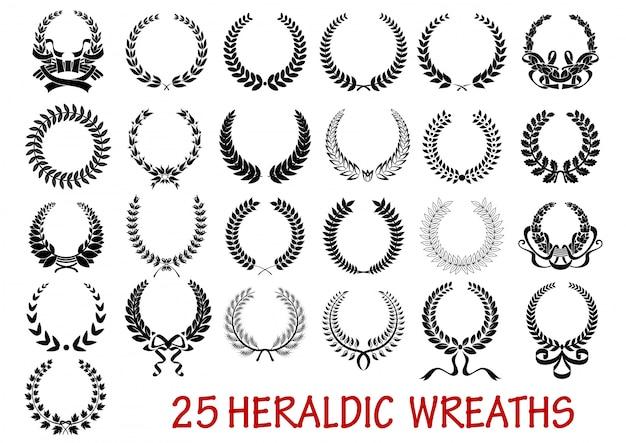 Laurel wreath heraldic set Premium Vector