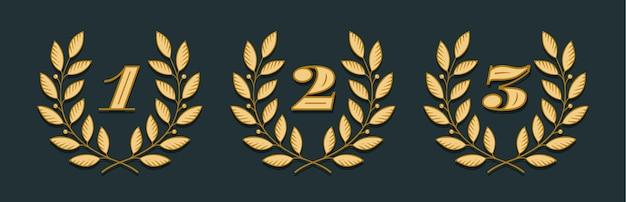 黄色の背景に分離された番号1、2、3の月桂樹のリースアイコン。手描きデザイン1、2、3、およびトーナメント、競争、勝者、賞および授与の要素。 Premiumベクター
