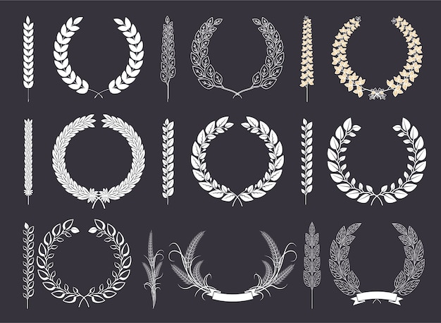 Laurel wreaths and branches vector collection Premium Vector