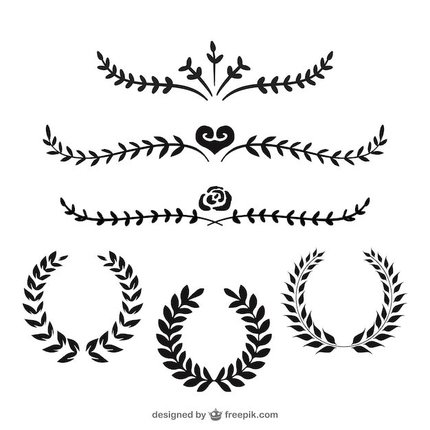 Laurel wreaths and dividers Free Vector