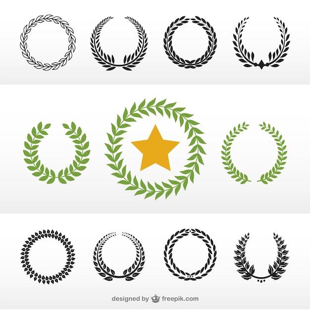 Laurel wreaths in green and black Free Vector