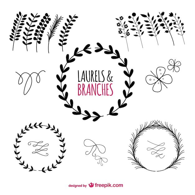Laurels graphic elements Free Vector