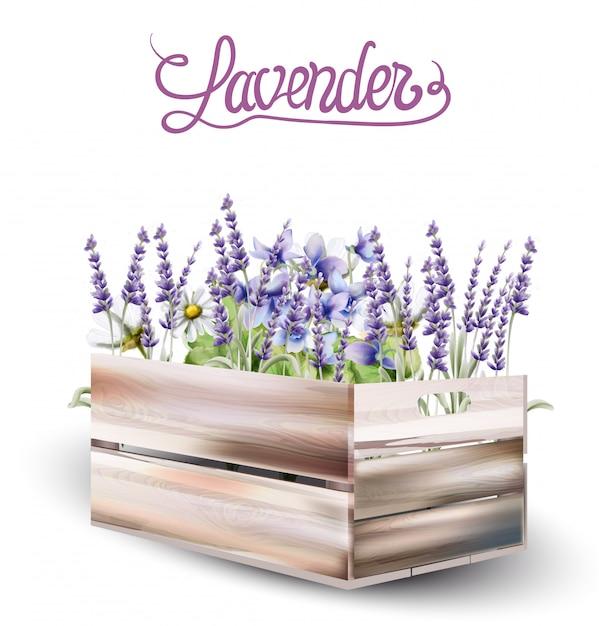 Lavender box card watercolor Premium Vector