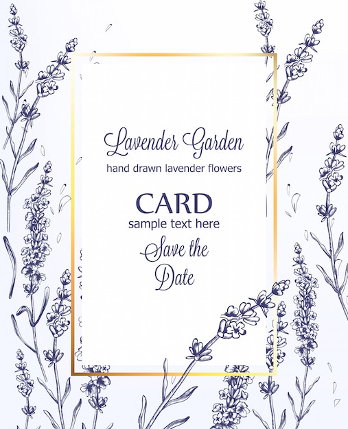 Lavender card vintage line art summer wedding ceremony invitation template Premium Vector