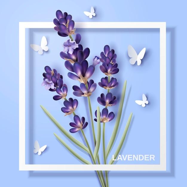 ラベンダーの花、紙蝶とイラストの白いフレームの魅力的な花 Premiumベクター