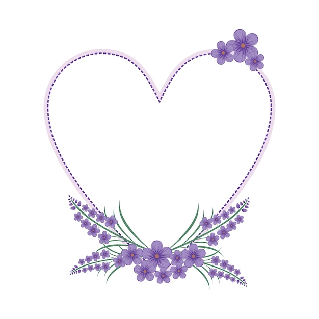 Lavender flower floral wreath love frame flat Premium Vector