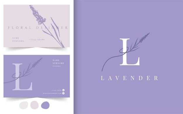 ラベンダーの花のロゴタイプ。名刺デザインテンプレート。フラワーショップ、フラワーデザイナー、ファッション、美容業界のエンブレム。 Premiumベクター