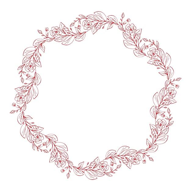 Lavender flowers decorative wreath isolated on white Premium Vector
