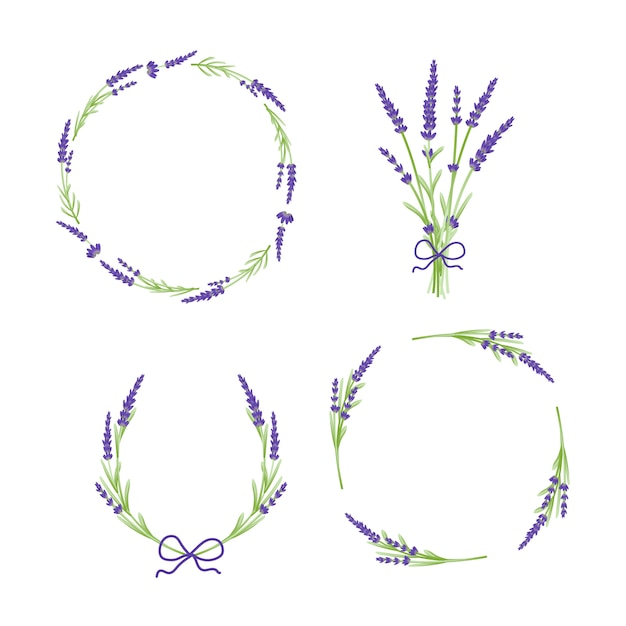 Lavender flowers floral wreath Premium Vector