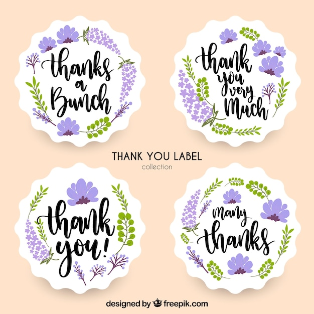 Lavender thank you label collection Free Vector