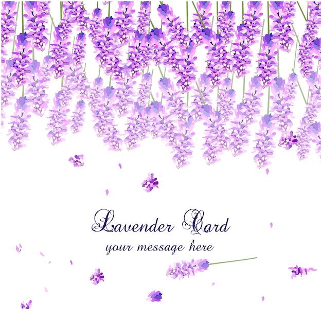 Lavender watercolor card design Free Vector