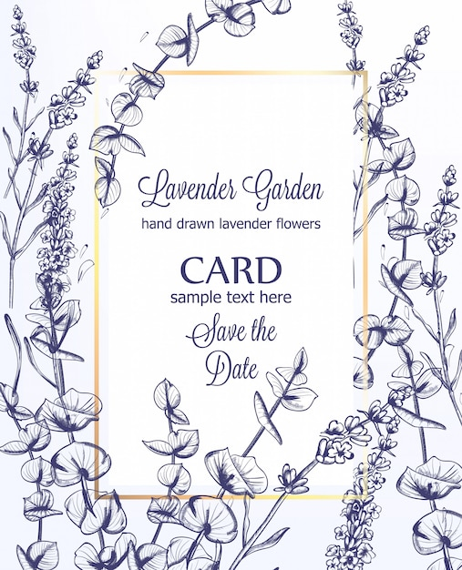 Lavender Wedding Card Invitation Template Vintage Line Art