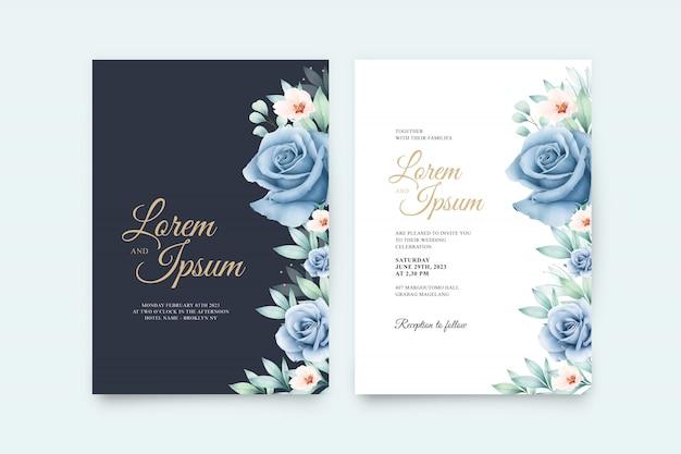 Свадебная открытка с красивыми цветами и акварелью laves Premium векторы
