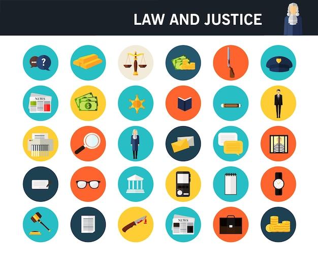 Право и справедливость концепции плоские иконки. Premium векторы