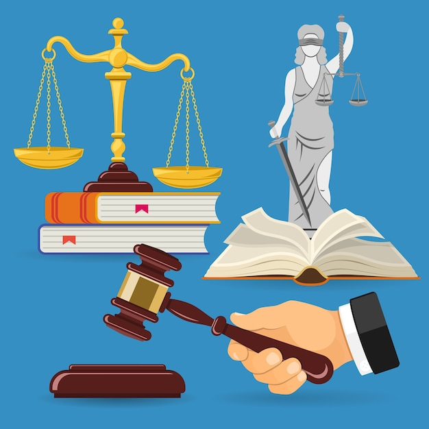 Концепция закона и правосудия с плоскими значками весов правосудия, молотком судьи, леди юстиции, книгами по праву. Premium векторы