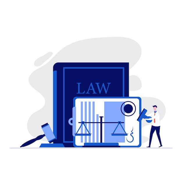 正義のスケールの近くに立っている人々のキャラクター、裁判官の小槌、法的契約に署名した法と正義の図の概念。 Premiumベクター