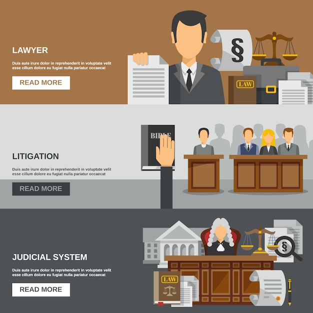 Law banner set Free Vector