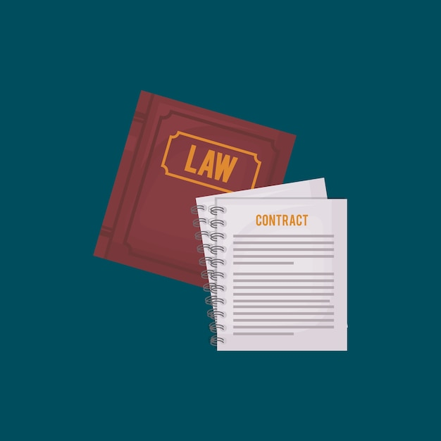 Law book and contract documents Vector   Premium Download
