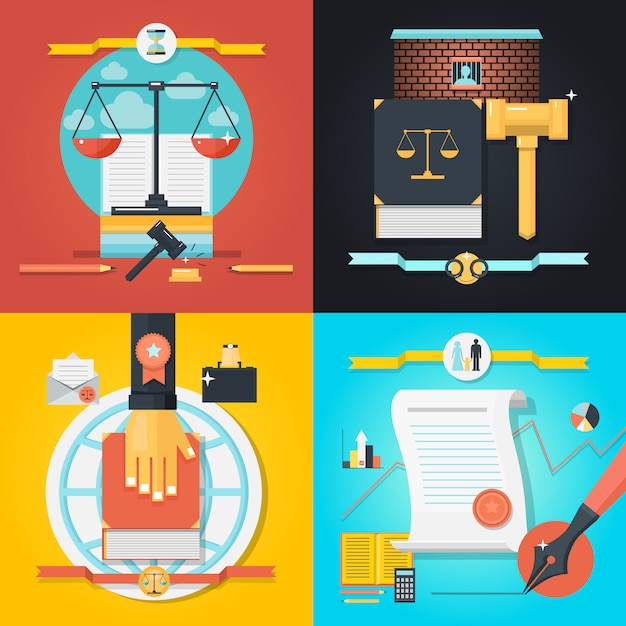 Law composition set Free Vector