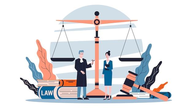 Концепция закона. идея правосудия, суда и адвоката. Premium векторы
