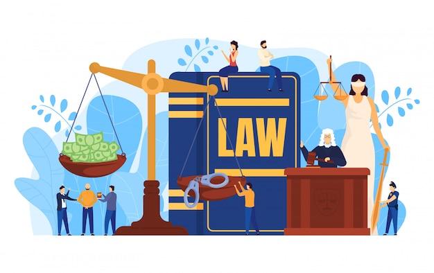 Концепция закона, судья и адвокаты в зале суда, весы символ правосудия, люди иллюстрация Premium векторы