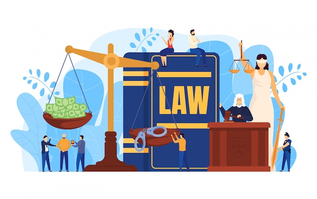 Law concept, judge and lawyers in courtroom, scales symbol of justice, people illustration Premium Vector