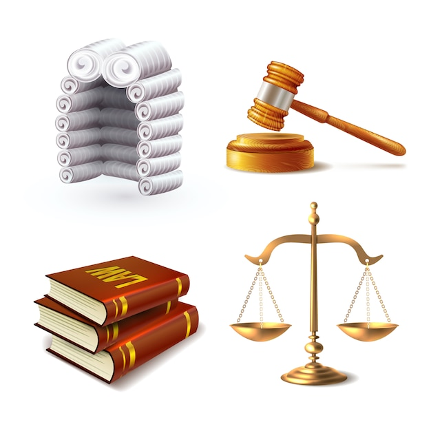 Law elements set Premium Vector