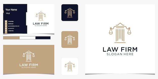 Аннотация юридической фирмы с роскошным дизайном логотипа столба для вашей компании и визитной карточки Premium векторы