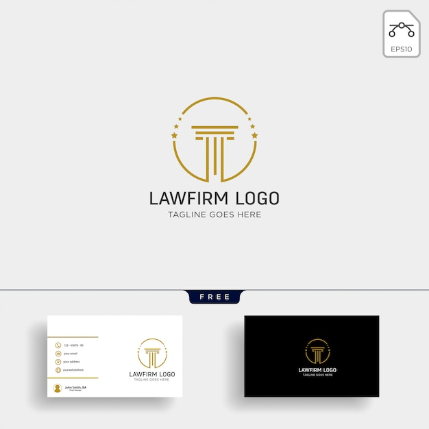 Law firm, advocate creative logo template with business card Premium Vector