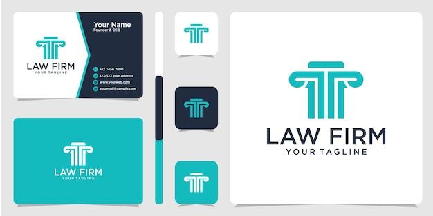 Логотип юридической фирмы и шаблон дизайна визитной карточки Premium векторы