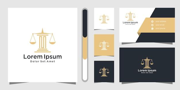 Дизайн логотипа юридической фирмы и шаблон визитной карточки. Premium векторы