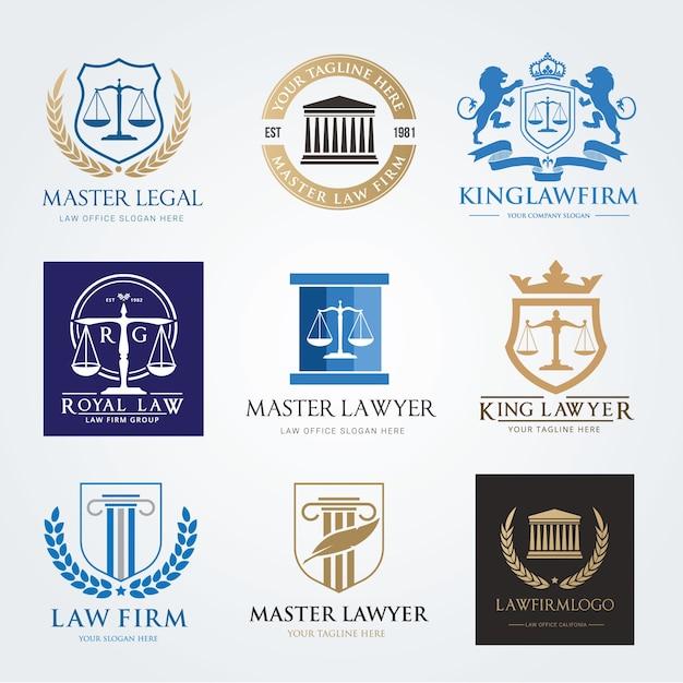 Law firm logo icon vector design  lawyer logo design set