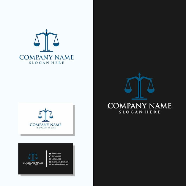Law firm logo with business card design Premium Vector