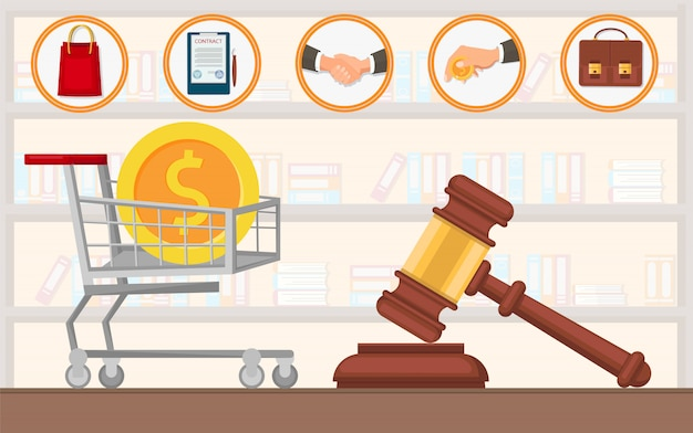 Law firm payment lawyer services purchase flat. Premium Vector