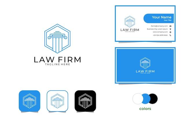 Юридическая фирма с дизайном логотипа в стиле лайн-арт и визитной карточкой Premium векторы