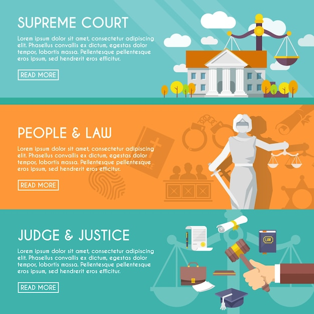 Law horizontal banners flat Free Vector