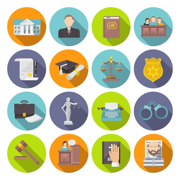 Law icon flat Free Vector