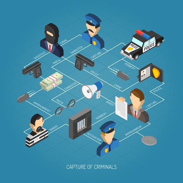 Law isometric concept Free Vector