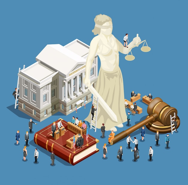 Law isometric icon Free Vector