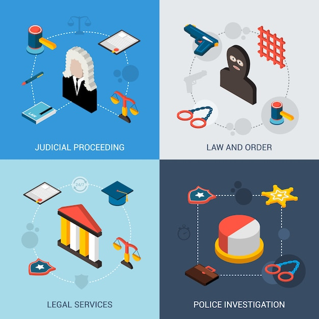 Law isometric set Premium Vector