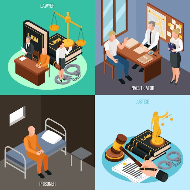 Law justice 4 isometric concept compositions with investigation convict prison cell court proceedings accessories isolated  illustration Free Vector