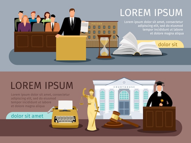 Law and justice banners Premium Vector