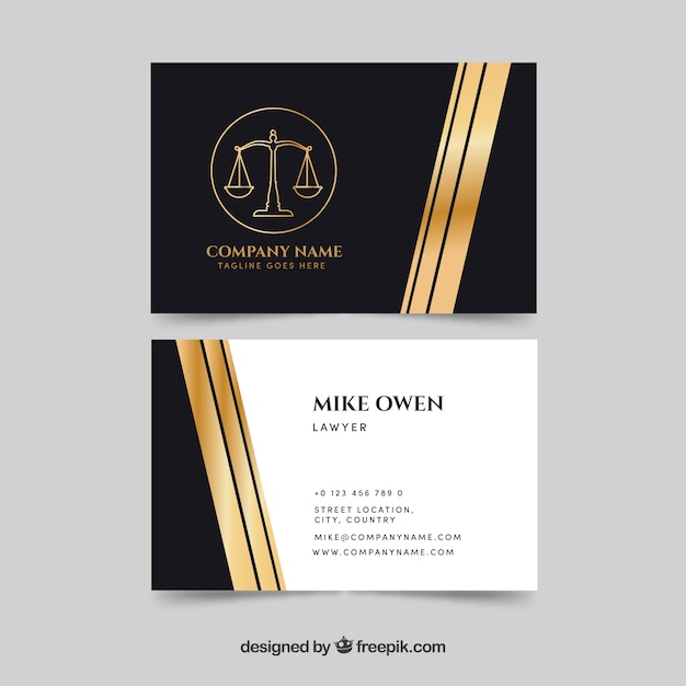 Law and justice business card templateq Free Vector