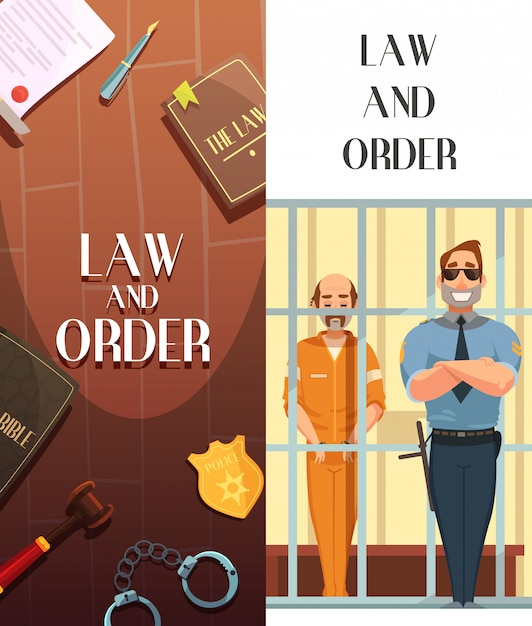 Law and justice cartoon banners set with convict in jail behind bars retro Free Vector