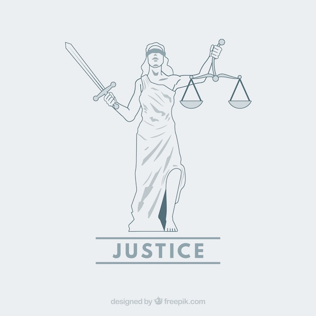 Law and justice concept with hand drawn style Free Vector