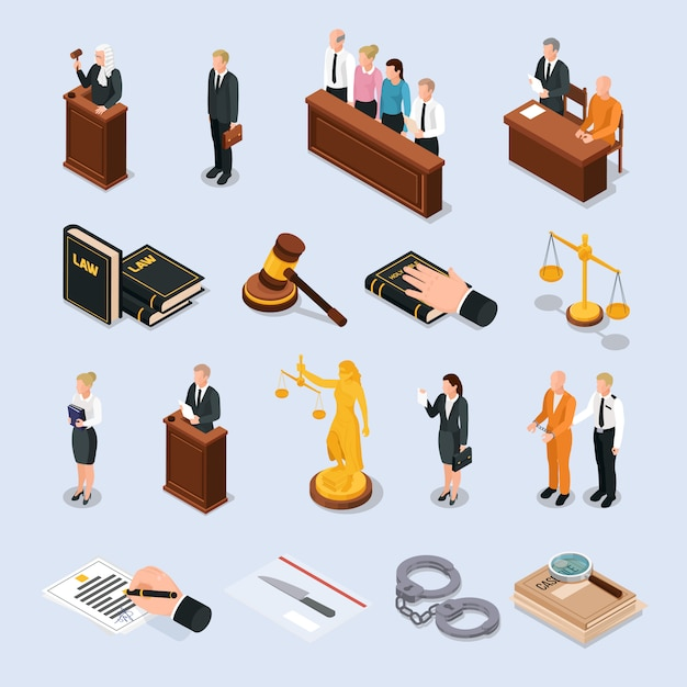 Law justice court characters accessories isometric icons set with convict judge attorney hand on bible  illustration Free Vector