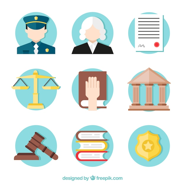 Law and justice element collection with flat design Free Vector