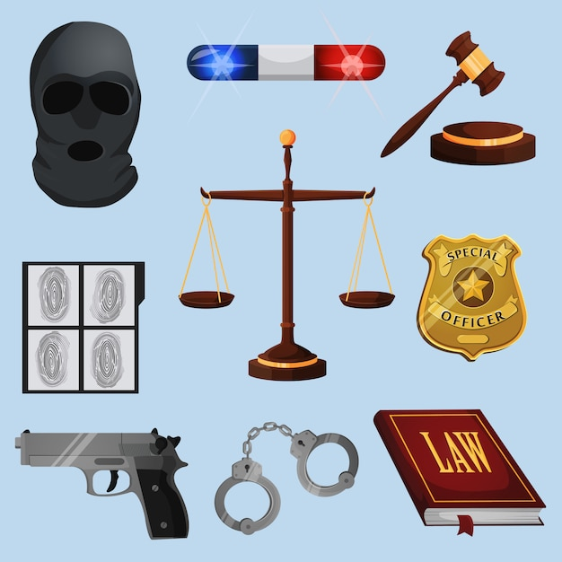 Law and justice elements set Premium Vector