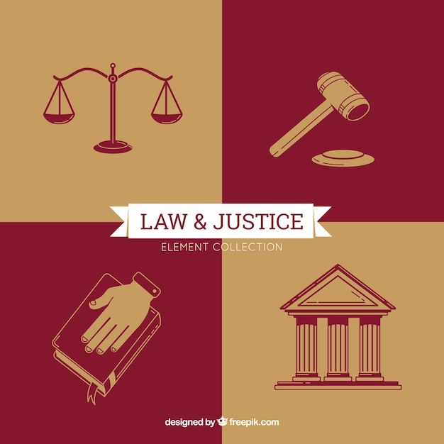 Law and justice elements with modern style Free Vector